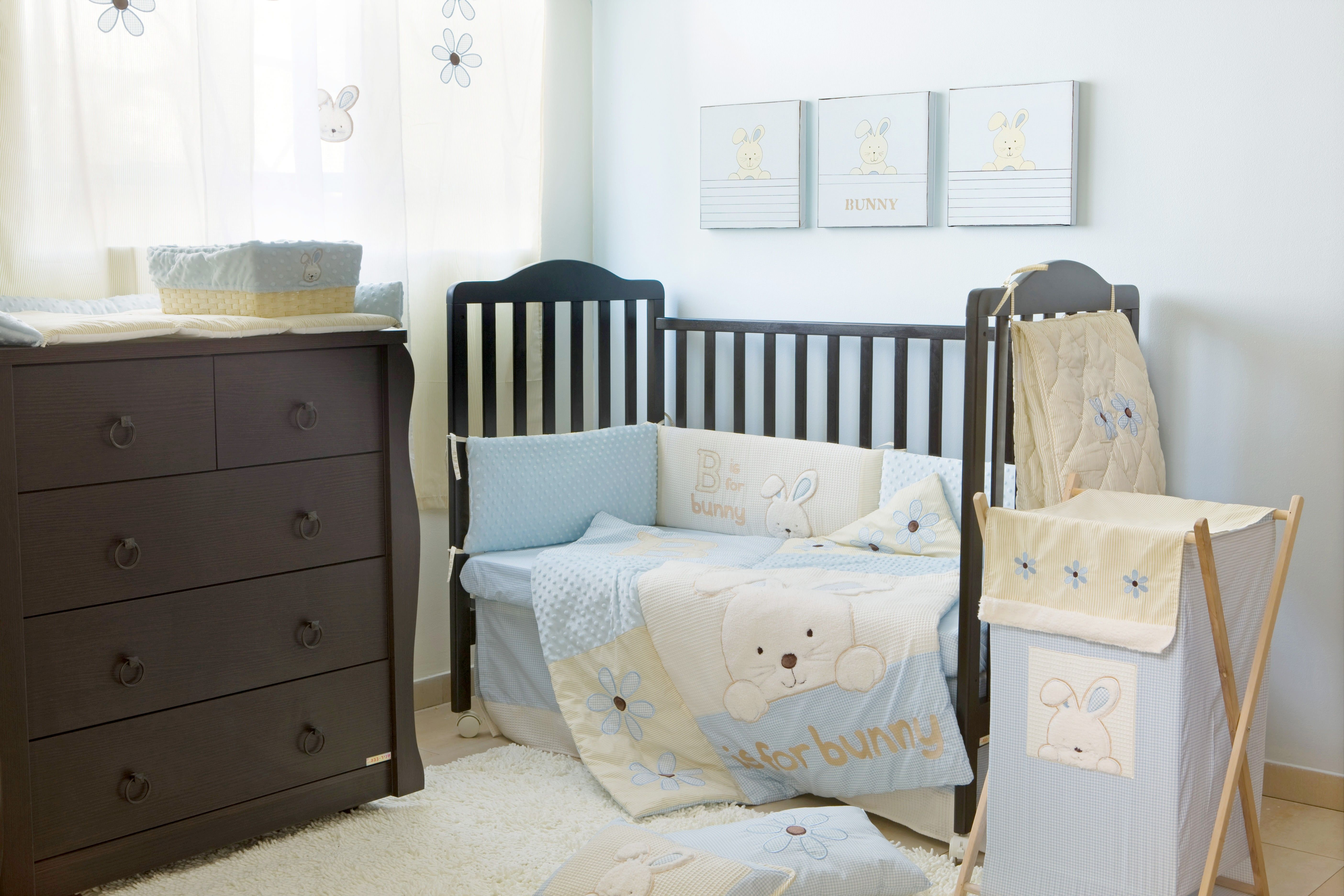 blue bunny crib bedding collection 4 pc crib bedding set. | unisex