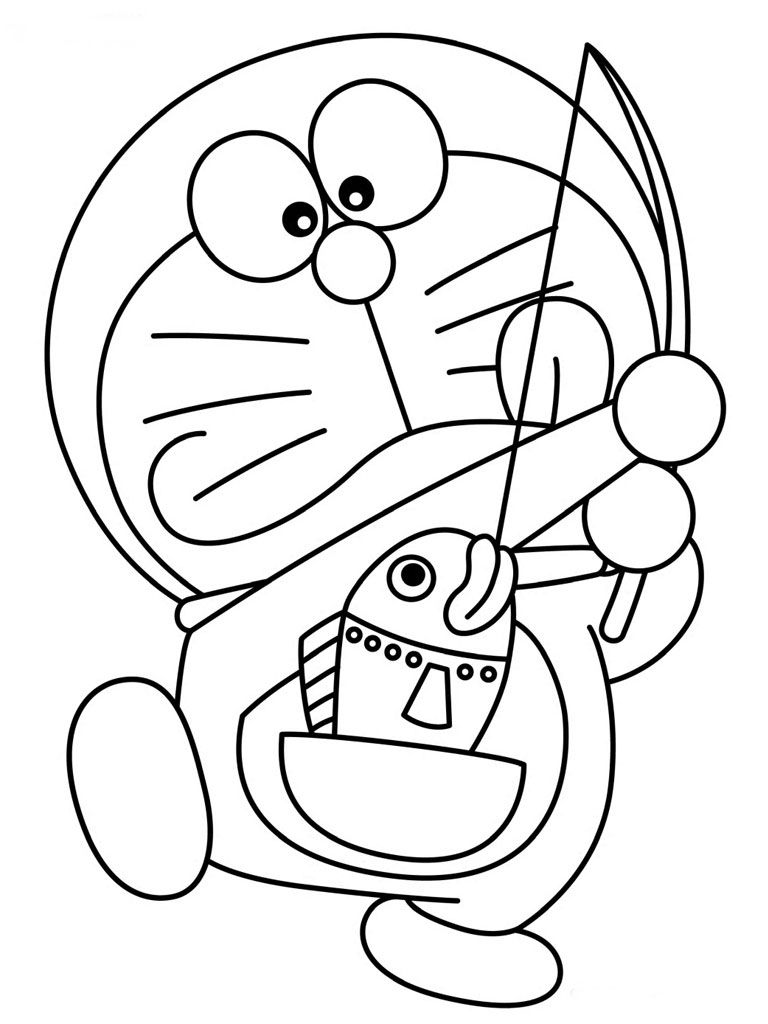 Doraemon coloring games online - Doraemon Fishing Printable Coloring Pages For Kids Www Http Www