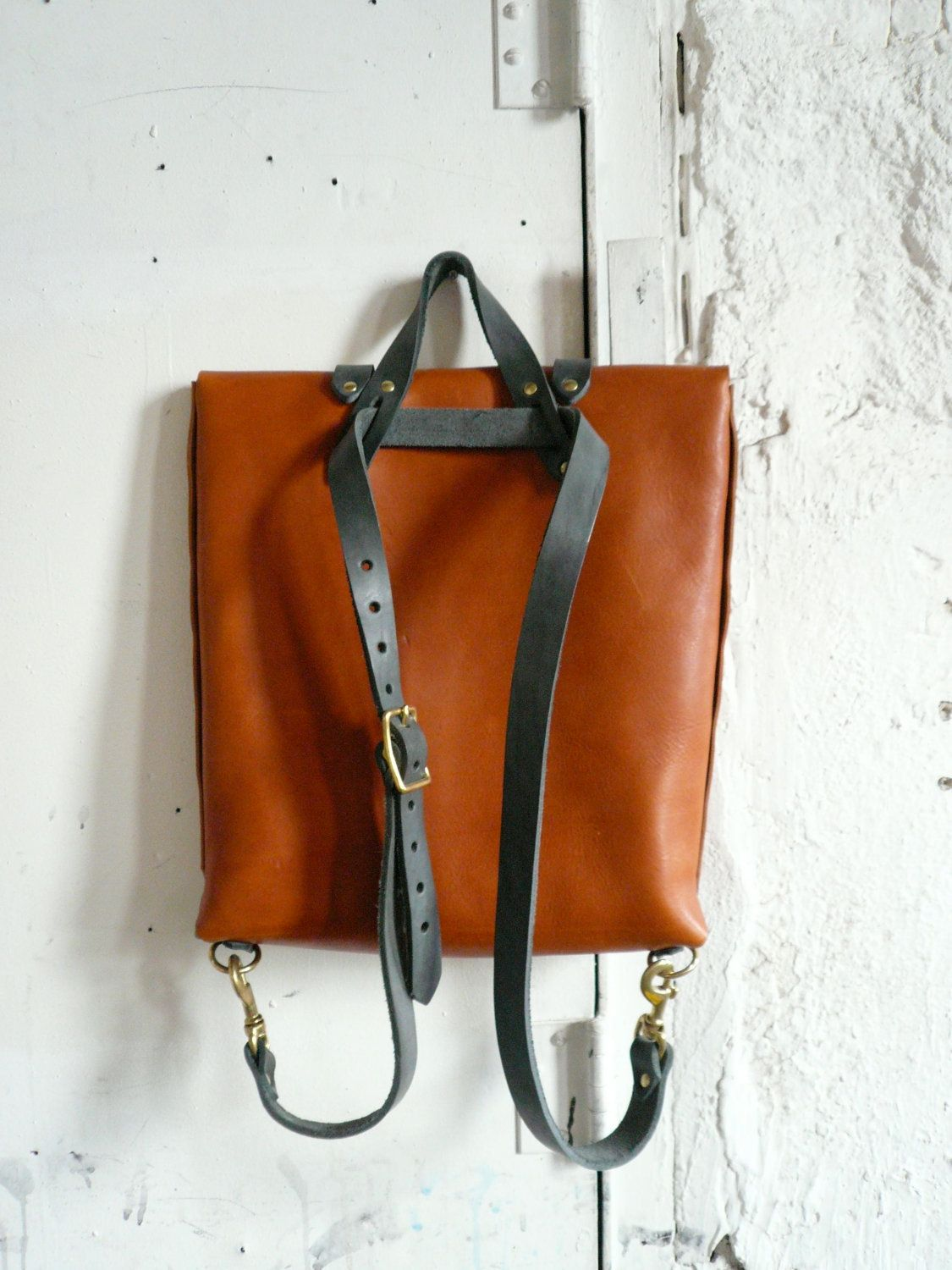 Rucksack Tote In Honey And Slate 390 00 Via Etsy Leather