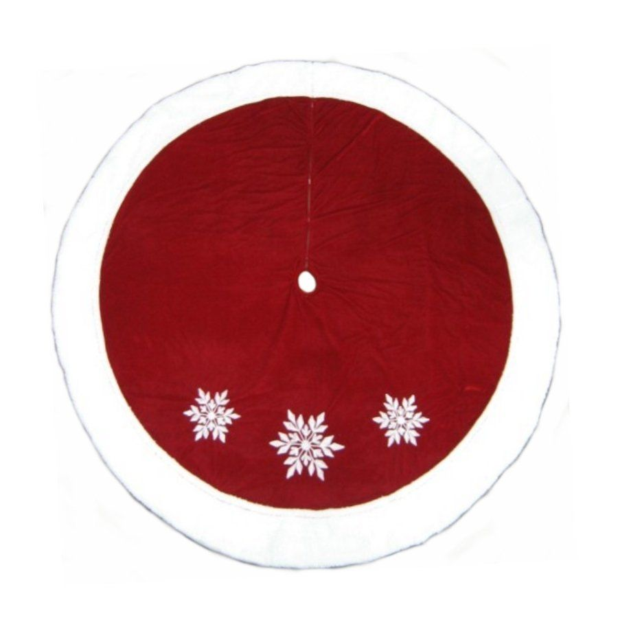 Lowes Christmas Tree Skirts: Holiday Living 72-in Red And White Velvet Christmas Tree