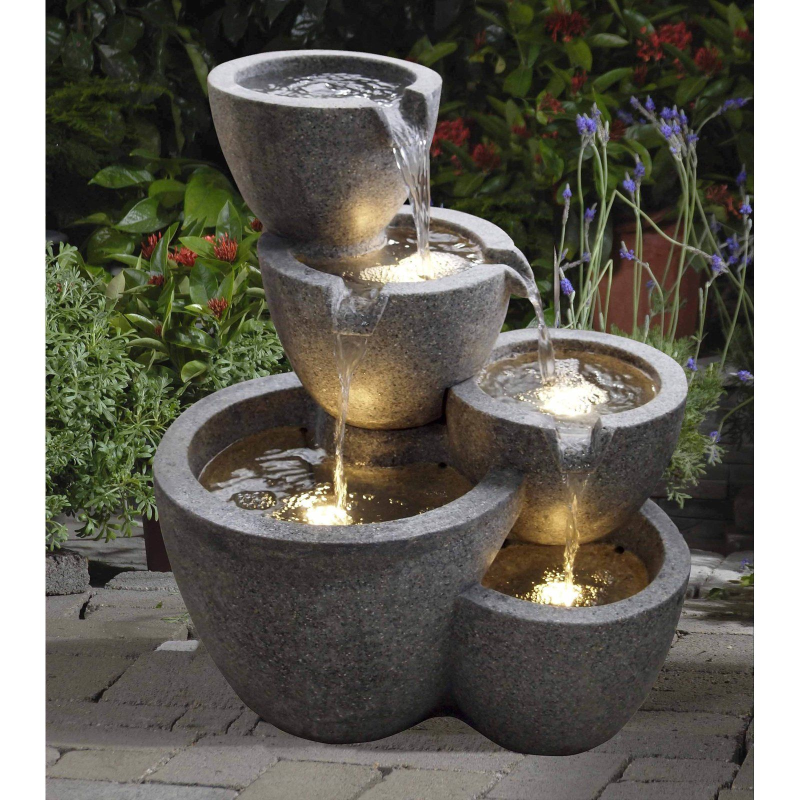 Jeco Multi Pots Indoor Outdoor Fountain with 4 LED Lights