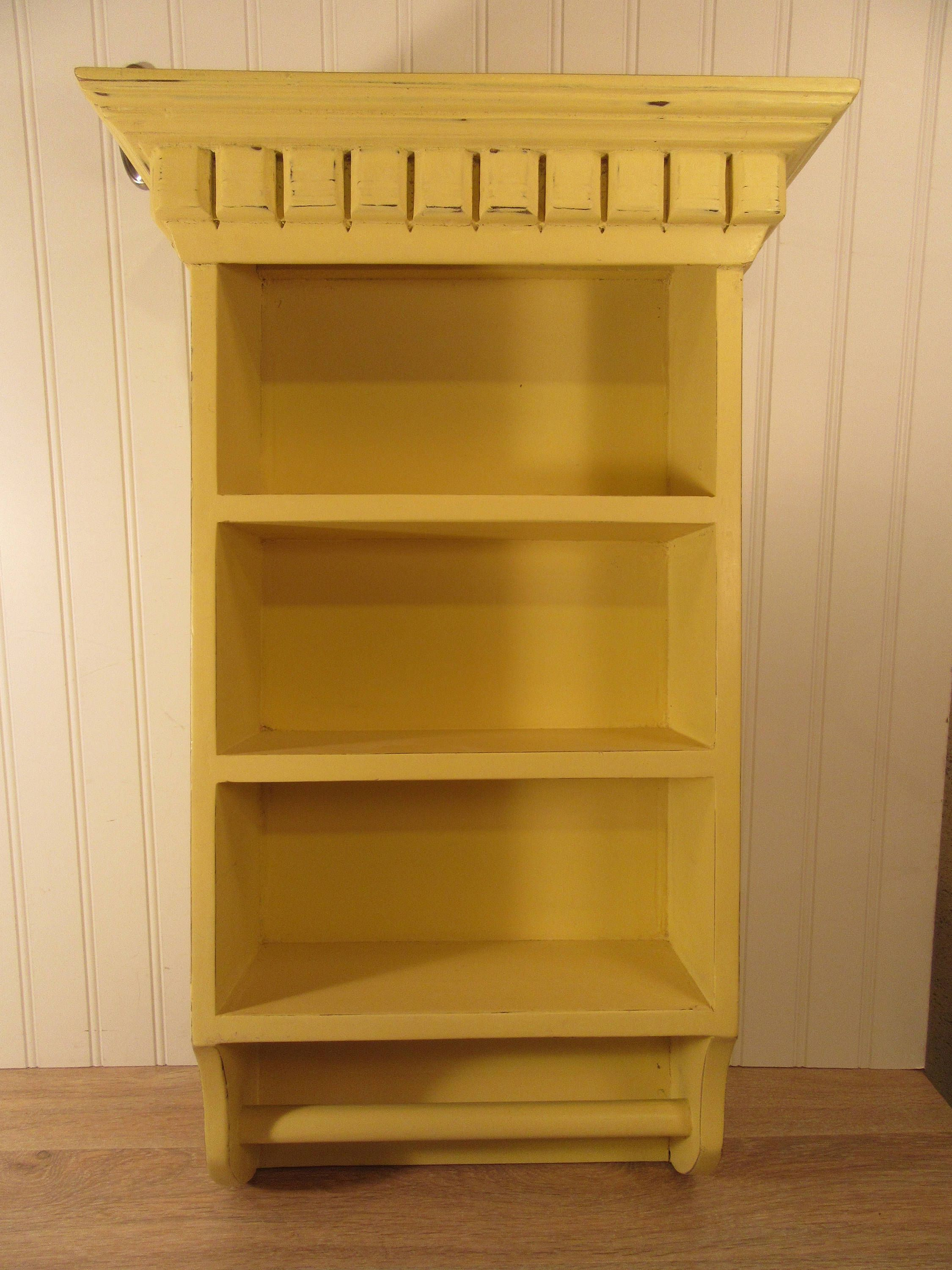 Yellow chalk painted wall shelf with towel bar- distressed, nice ...