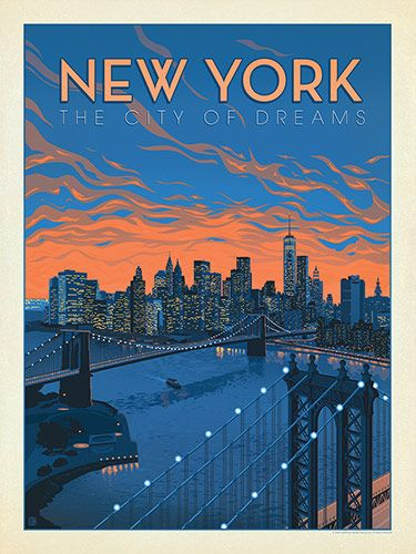 New York City Of Dreams Anderson Design Group Has Created An Award Winning Series Of Classic Vintage Poster Design Travel Poster Design Retro Travel Poster