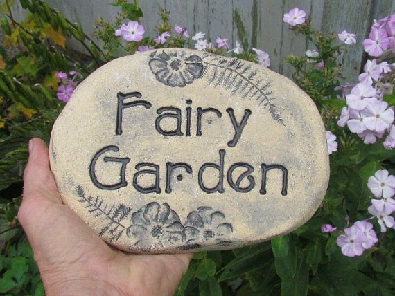 Fairy garden sign  stone decoration for the fairies by Poemstones