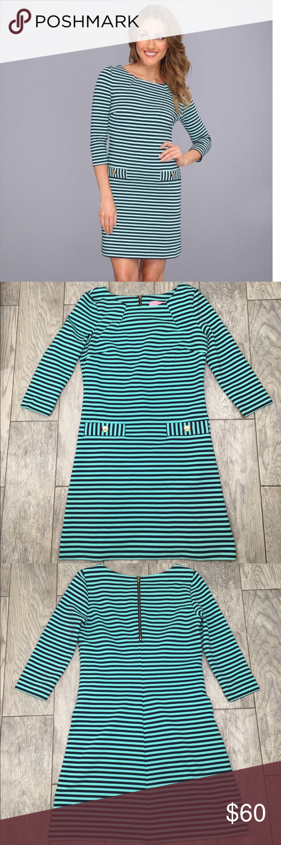 Lilly Pulitzer Charlene dress aqua and navy stripe Lilly Pulitzer Charlene dress. Aqua and navy stripes, and gold accent buttons. 3/4 sleeves and above knee length. Adorable dress! EUC- no flaws or damage. Size small Lilly Pulitzer Dresses