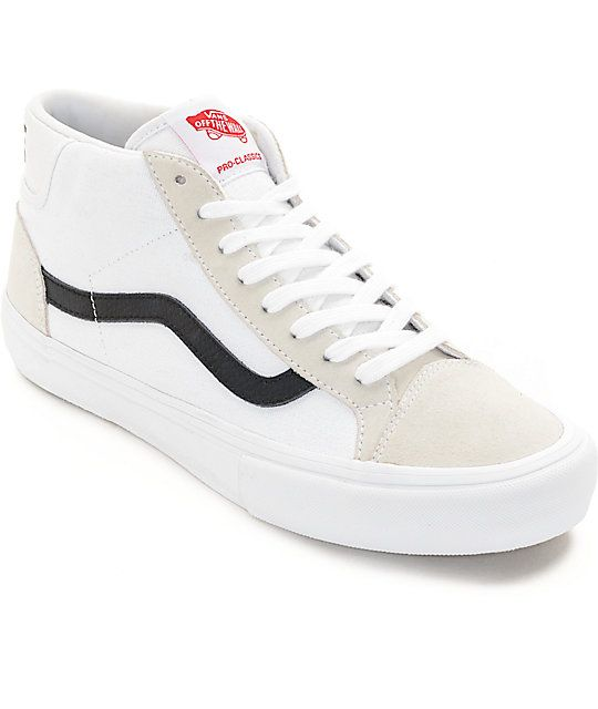 a29ee46fd28 ... your block to own the new Zumiez Exclusive Mid Skool Pro skate shoes  from Vans. This mid-top design of the classic Old Skool features a white  canvas and ...