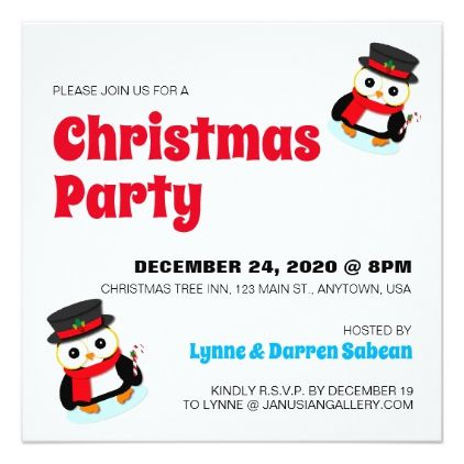 Cute Christmas Penguin Holiday Party Invitation Holiday party - holiday party invitation