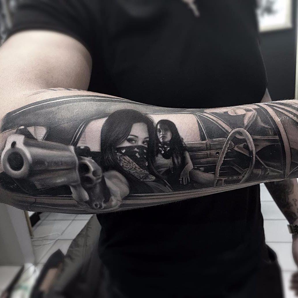 Dont F With Us By Thomas Derm Hospital Tattoo Dermhospitalthomas Thomas Blackandgrey Realism Realistic Hyperr Gangster Tattoos Gangsta Tattoos Tattoos