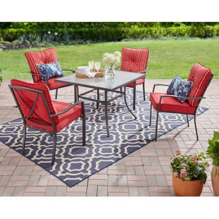 Outdoor Patio 5-Piece Dining Set Pool Furniture Red #Mainstays - Outdoor Patio 5-Piece Dining Set Pool Furniture Red Outdoor Patio