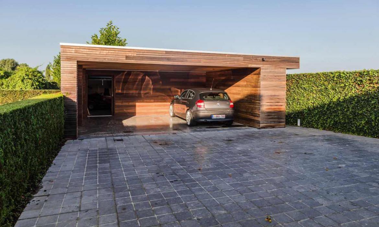 Dubbele carport met berging in padoek Woodproject