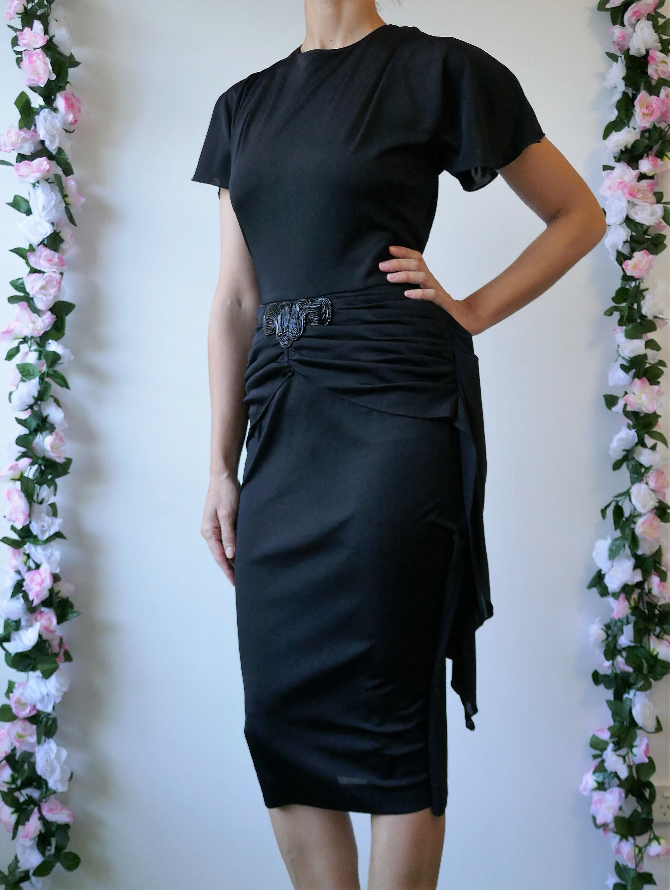 S cocktail dress size m black by ricky renee vintage party