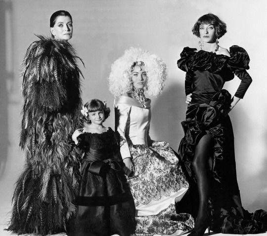 Three generations dressed in YSL (left to right) Maxime de La Falaise, her two grand daughters Anna Klossowski & Lucie de La Falaise and her daughter Loulou de La Falaise _ Photo by Irving Penn, Vogue US, March 1992.