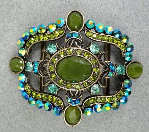 Jewelry Scarf Slide Belt Buckle Edwardian AB Rhinestone Blue Green Cabs Brass