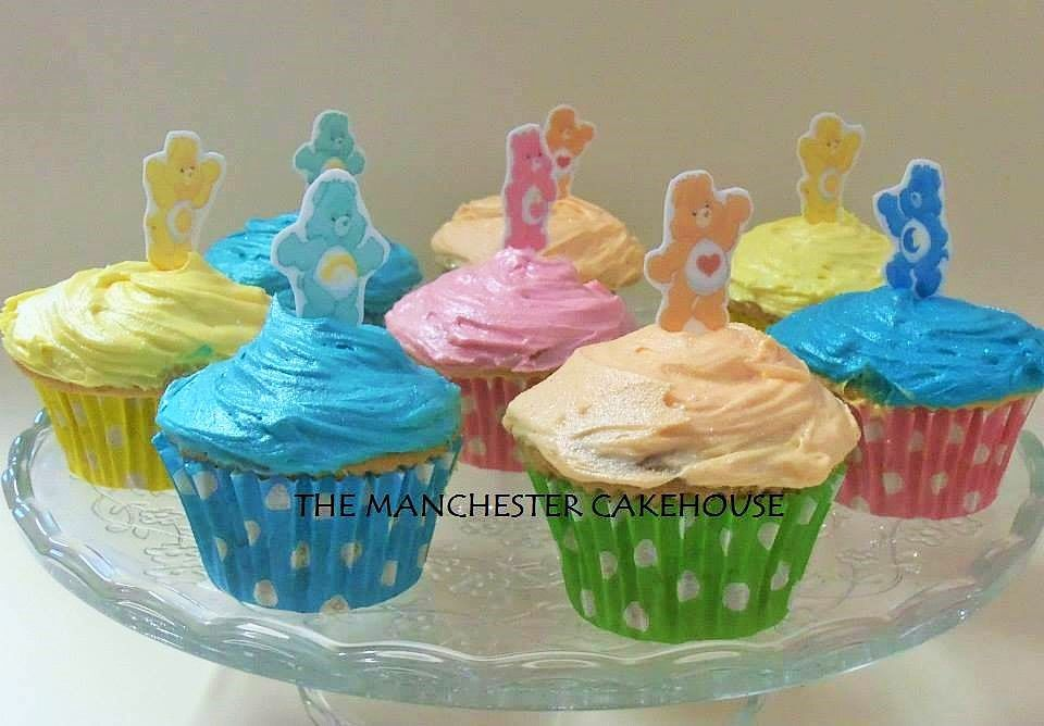 Pastel coloured Carebear cupcakes from The Manchester Cakehouse!