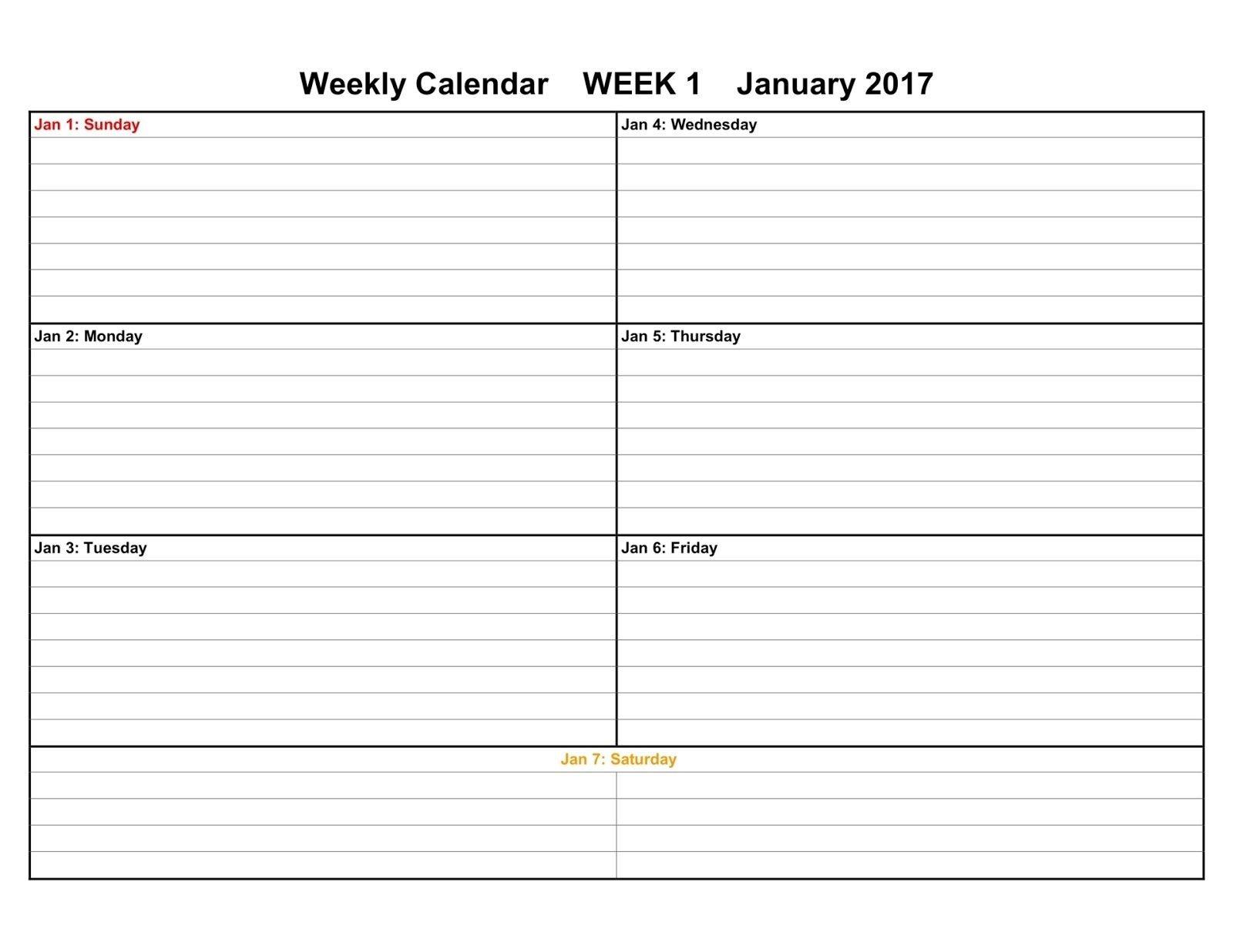 Weekly Calendar Planner Weekly Diary Calendar Template Desk Weekly