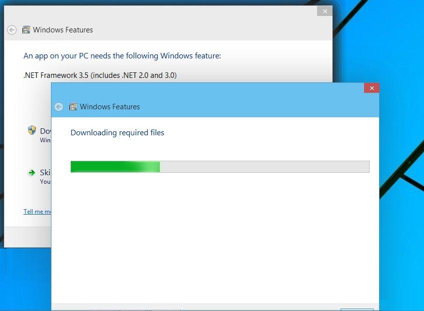 installing  net 3 5 on windows 10