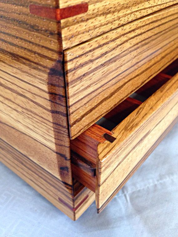 Zebra Wood Jewelry Box Made from 5 Exotic Woods Exotic Wood Box