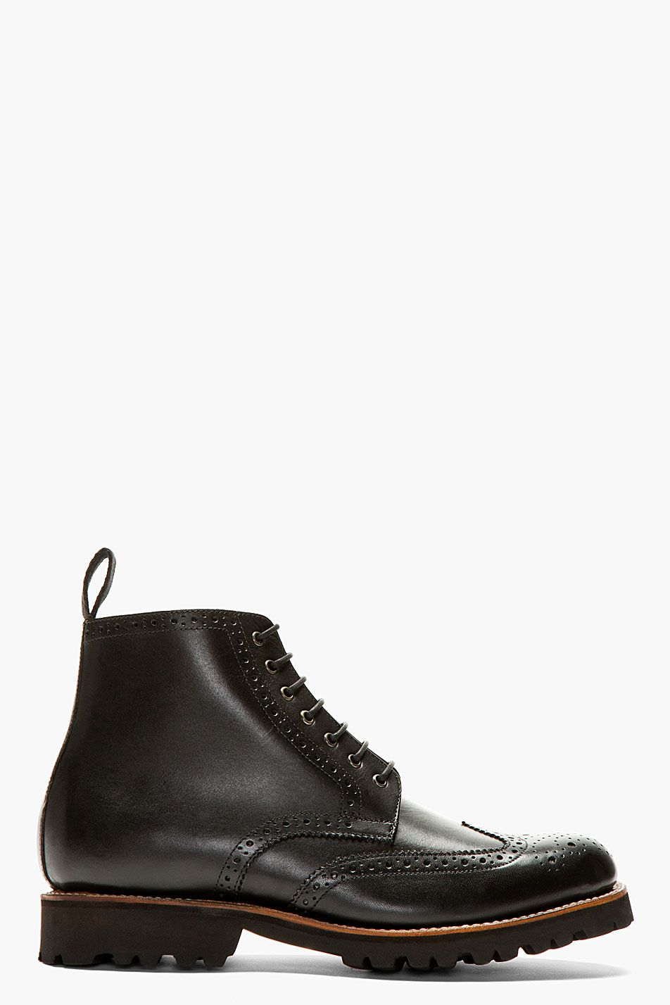 GRENSON Black Leather Brogue Ankle Boots