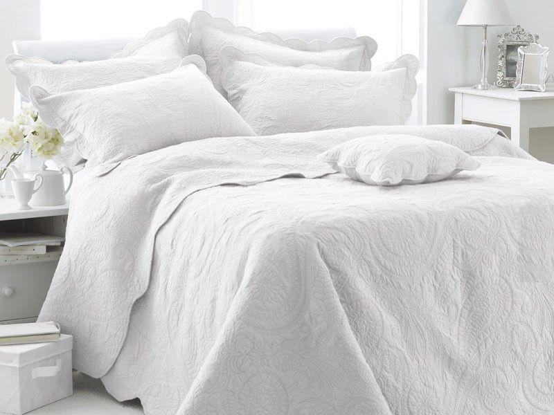 Couvre Lit Boutis Coton Menton Blanc 240x260 Cm Linge Et Maison Com