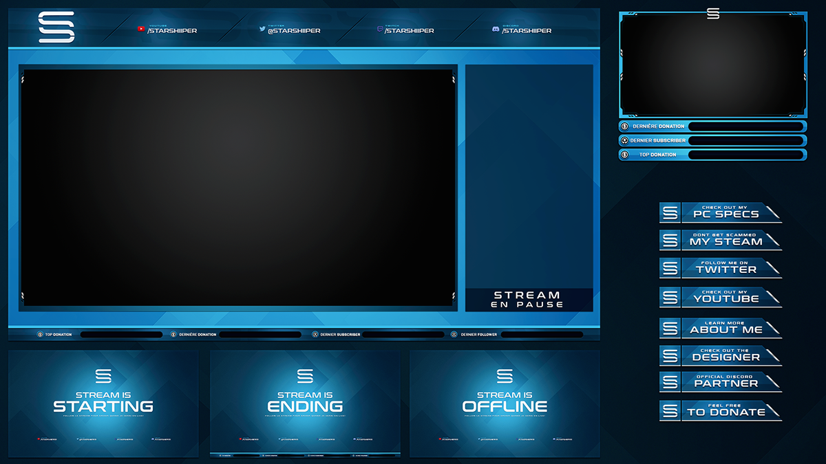 Twitch Livestream Designs Stream Packages Overlays On Behance Twitch Streaming Setup Overlays Intro Youtube