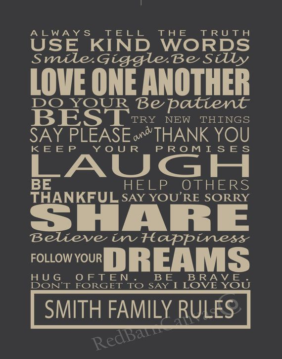 customized family rules house rules personalized canvas word art