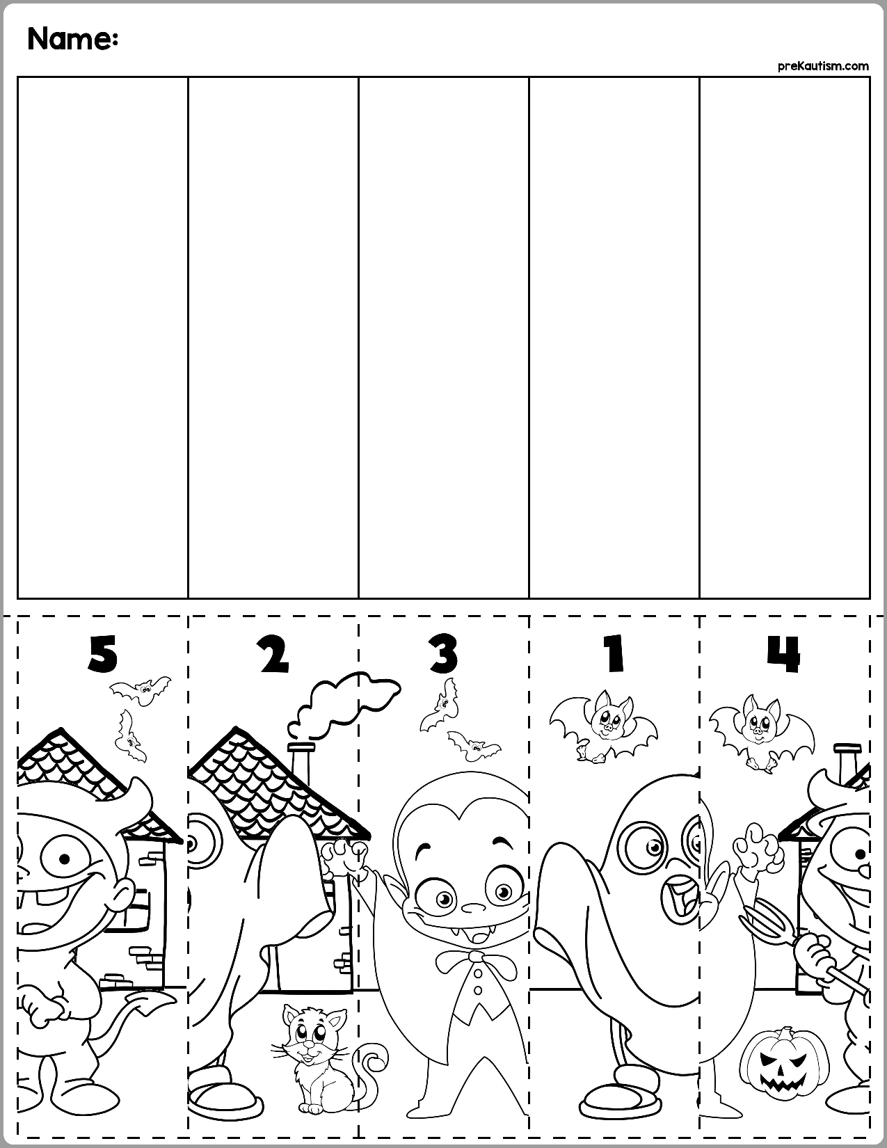 Halloween Scene Number Sequence Puzzles