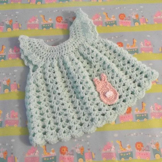 934da6fbd Crochet Pinafore Baby Dress with Bunny Applique