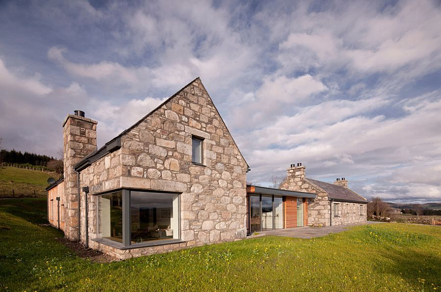 Modern Architecture Scotland revitalized cottage in stone and wood captures the aura of