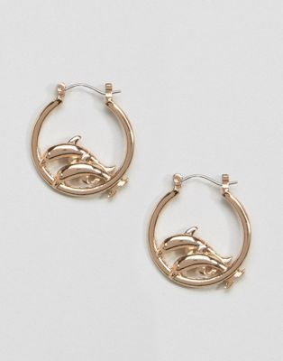 Skinnydip Gold Jumping Dolphin Hoop Earrings