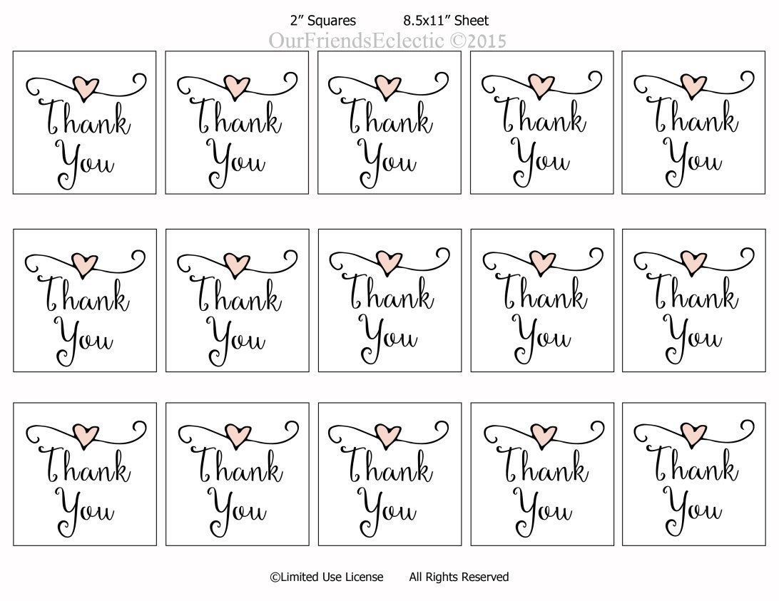 thank you tags, printable wedding favor tags, thank you printable ...