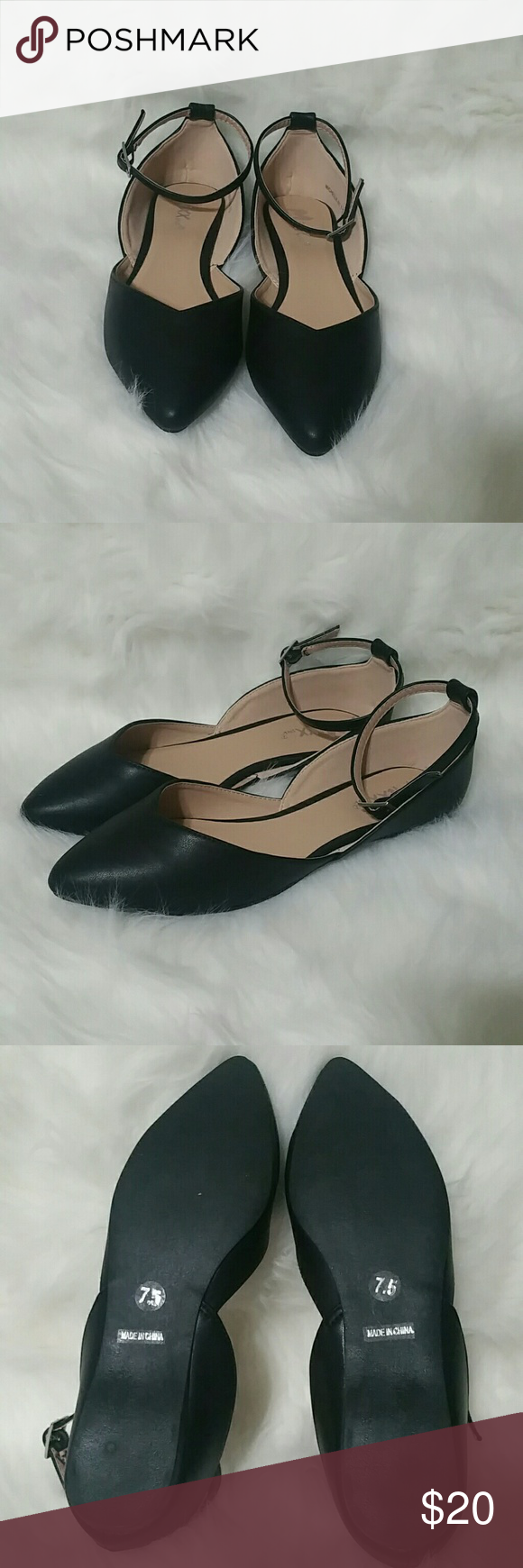 """Black Mixx Shuz D'orsay flats with ankle straps Black Mixx Shuz D'orsay flats with ankle straps. Faux leather. New, no tags. Top of toe to back of heel measures approx 10"""" and widest part of the foot measures approx 3"""". Mixx Shuz Shoes Flats & Loafers"""