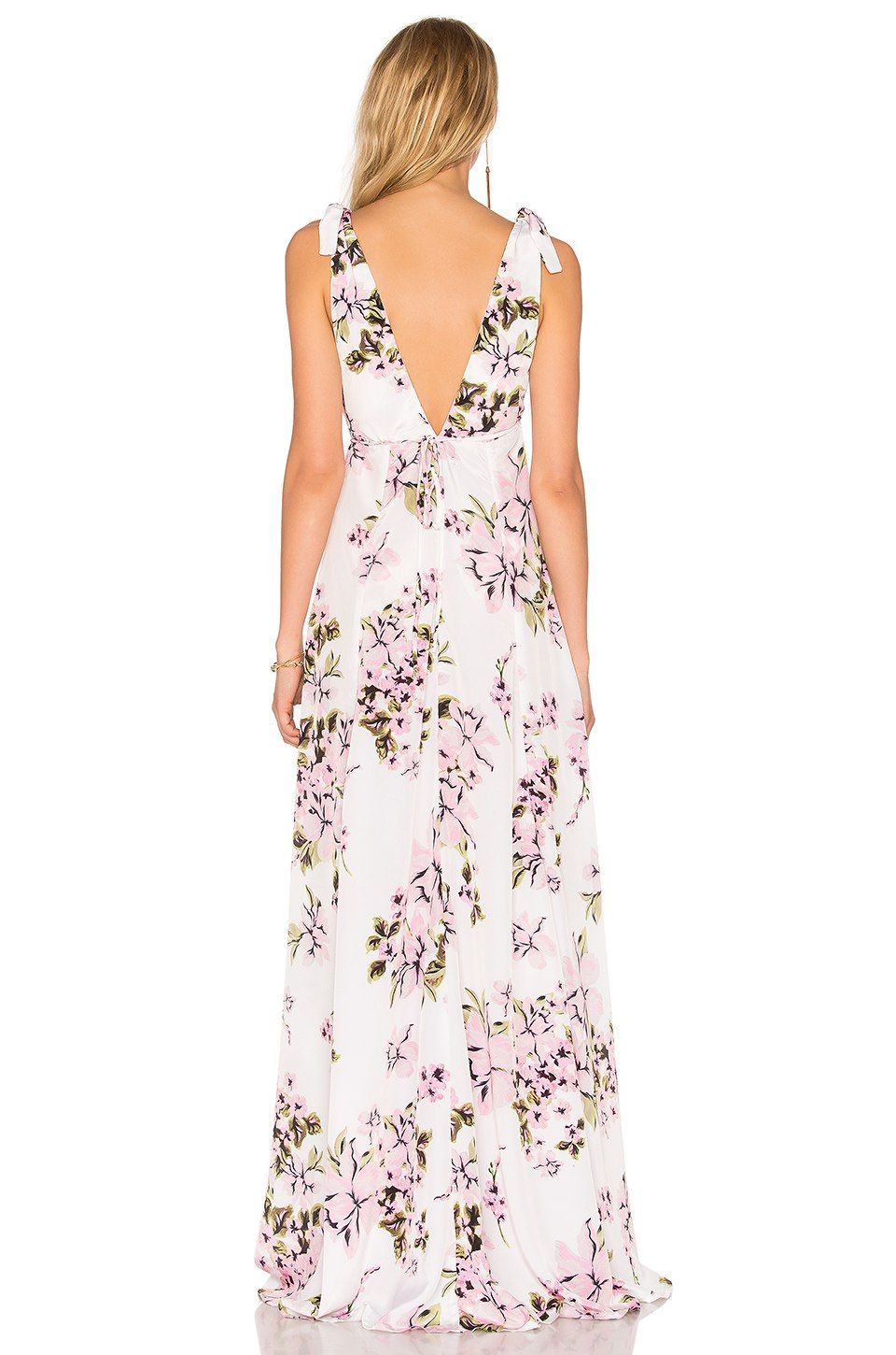 02528f0144 BEACH RIOT Deep V Floral Gown in Pink Flower | REVOLVE | Clothes ...