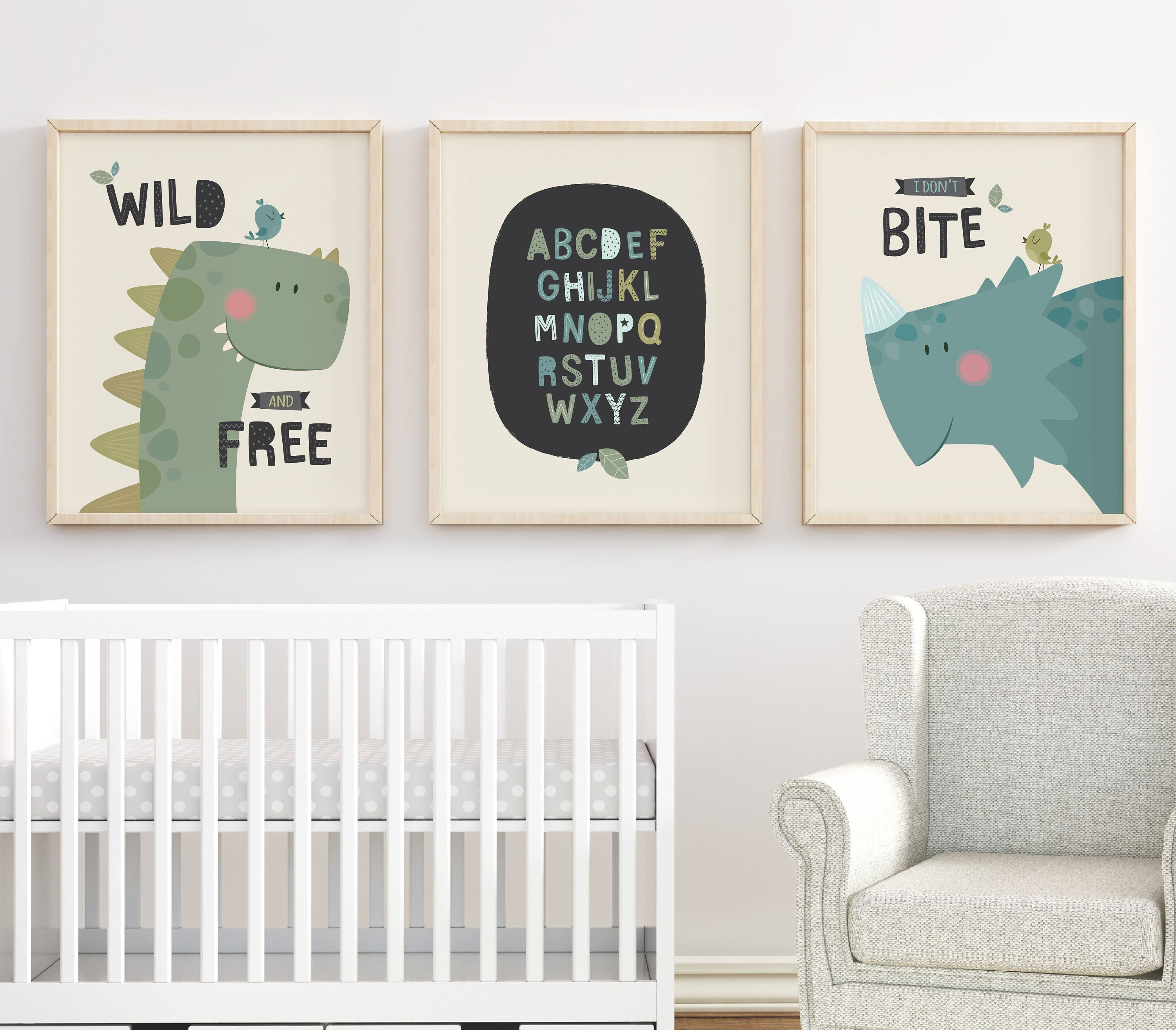 Dinosaur Decor Nursery Wall Art Prints Set Of 3