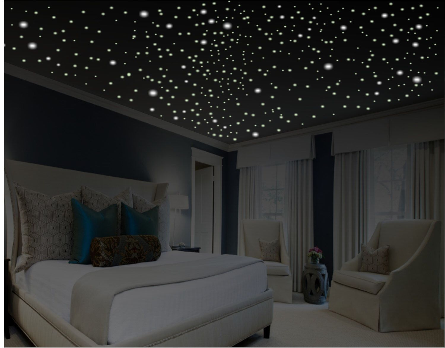 Glow in the dark stars romantic bedroom decor romantic for Bed decoration anniversary