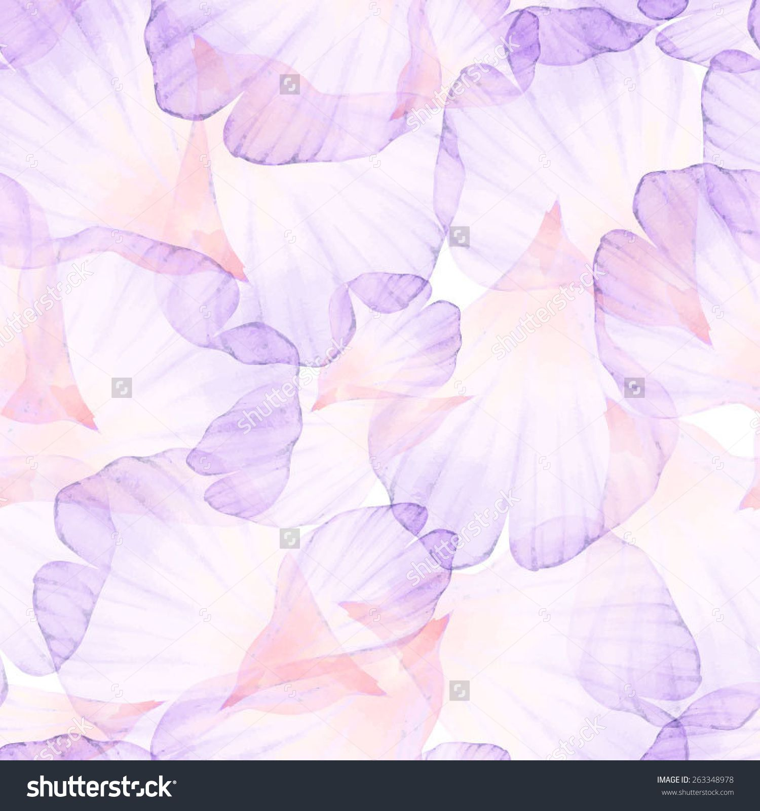 Watercolor Seamless Pattern Pink Flower Petal Vectorized