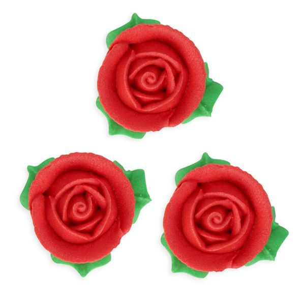 3d Rose W Leaves Royal Icing Decorations Bulk Red Royal Icing Decorations Royal Icing Icing