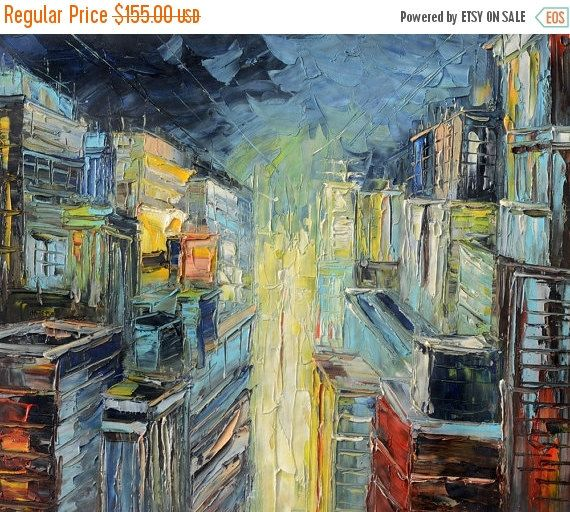 50% off ORIGINAL Oil Painting Cityscape painting by ArtPaintingsMP
