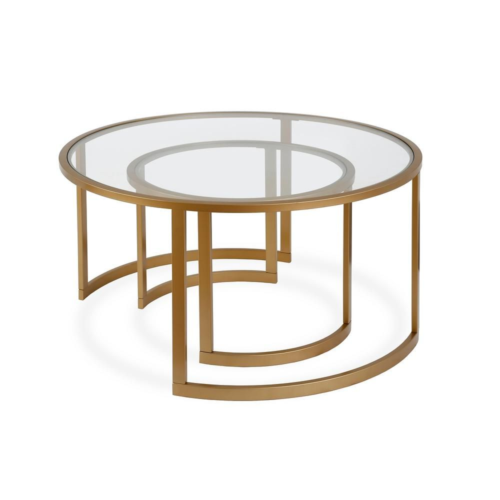 Meyer Cross Mitera 2 Piece 36 In Brass Medium Round Glass Coffee Table Set With Nesting Tables Ct0153 The Home Depot Coffee Table Round Glass Coffee Table Coffee Table Setting [ 1000 x 1000 Pixel ]
