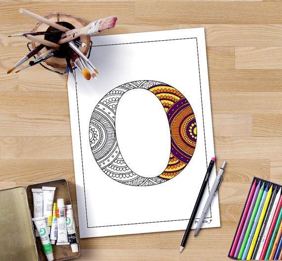 zentangle alphabet coloring page letter O, henna doodle alphabets ...