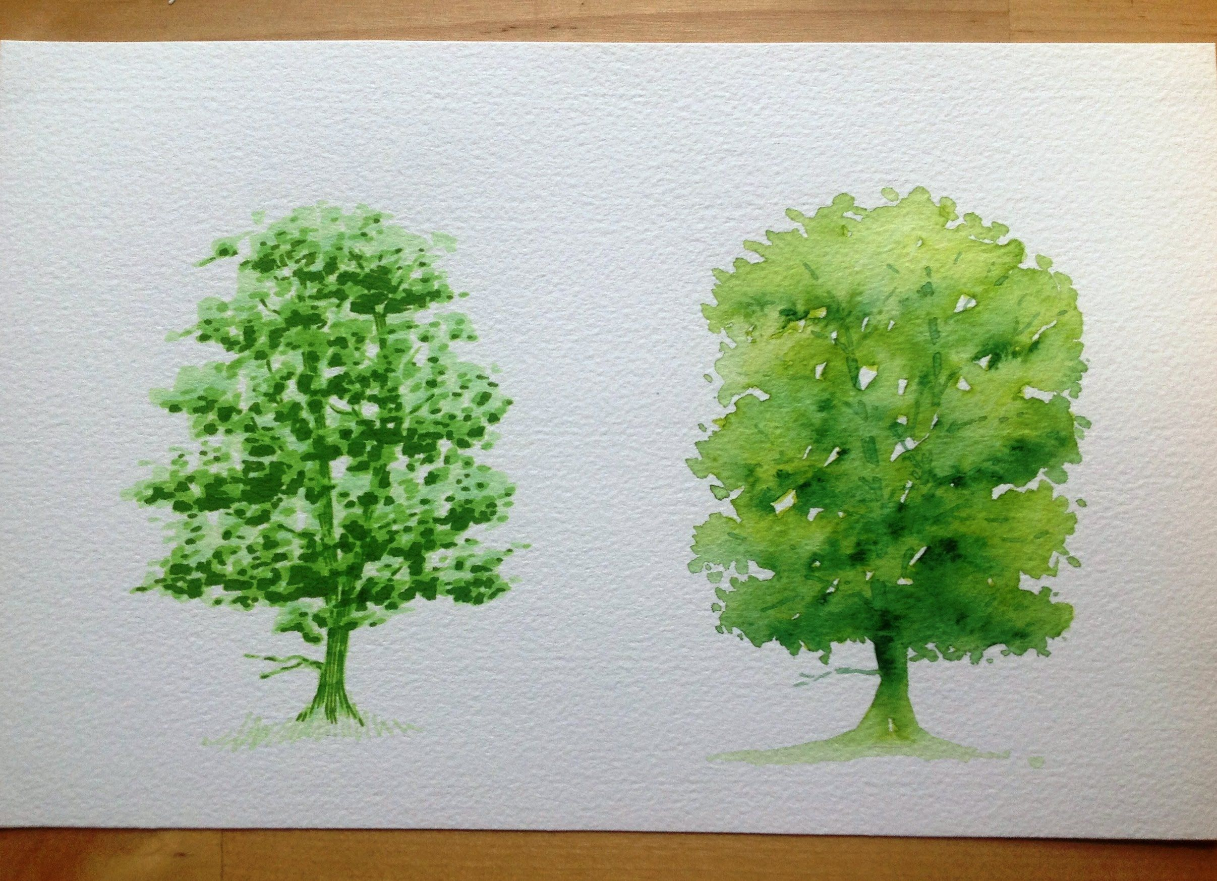 Drawing a tree with Promarker Vs Aquamarker - tutorial | Art ...