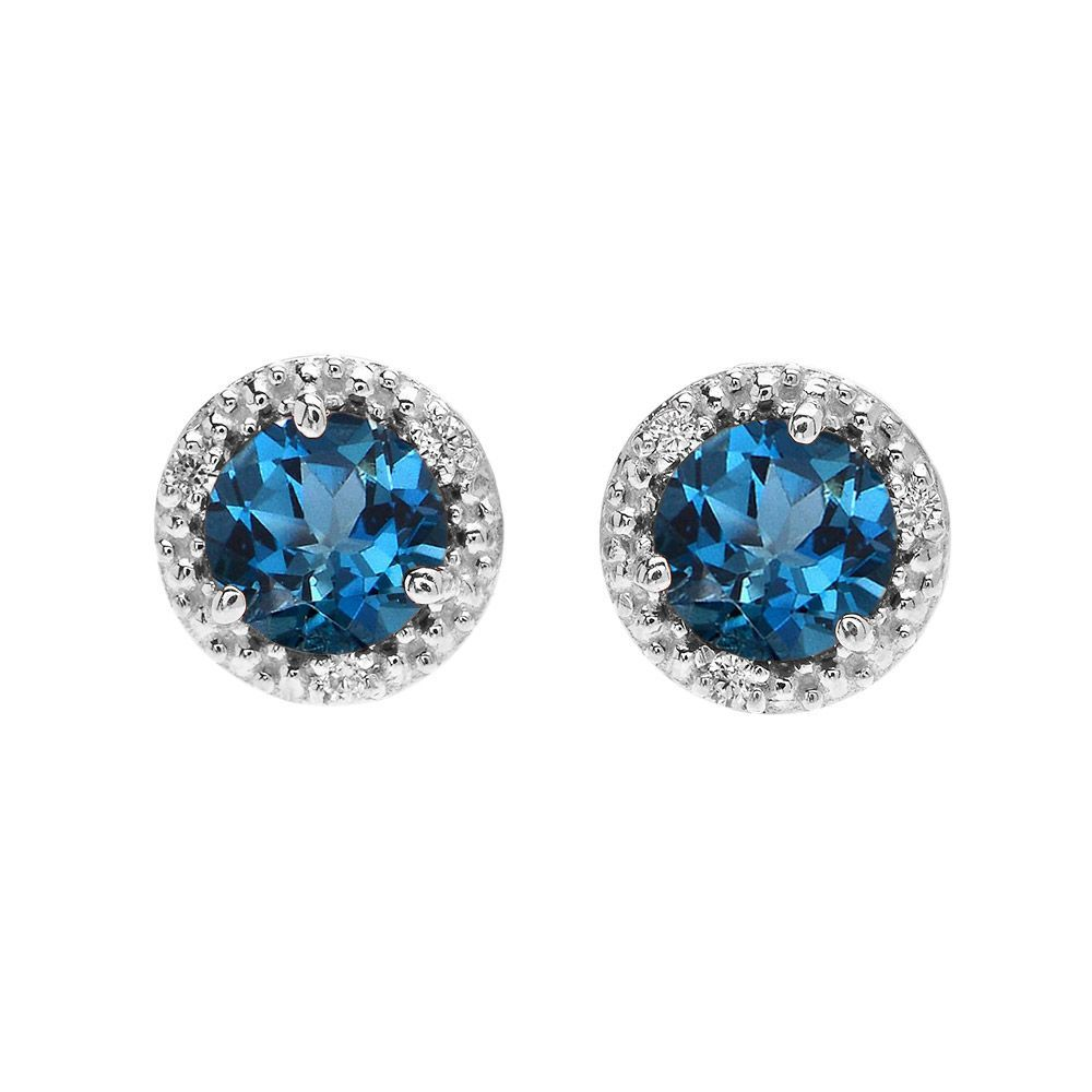 2.0ct Blue Topaz and Diamond Halo Stud Earrings in 9ct White Gold #earring #
