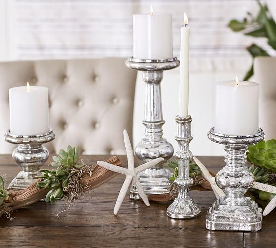 Antique Mercury Glass Pillar Holder Candeleros