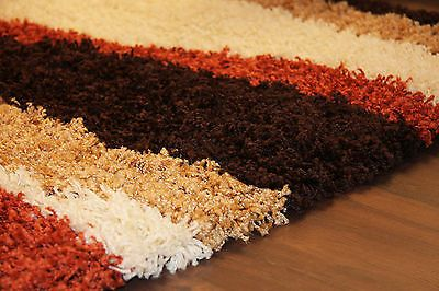 Gy Rug Thick Soft Warm Terracotta Burnt Orange Cream Brown Small Large New
