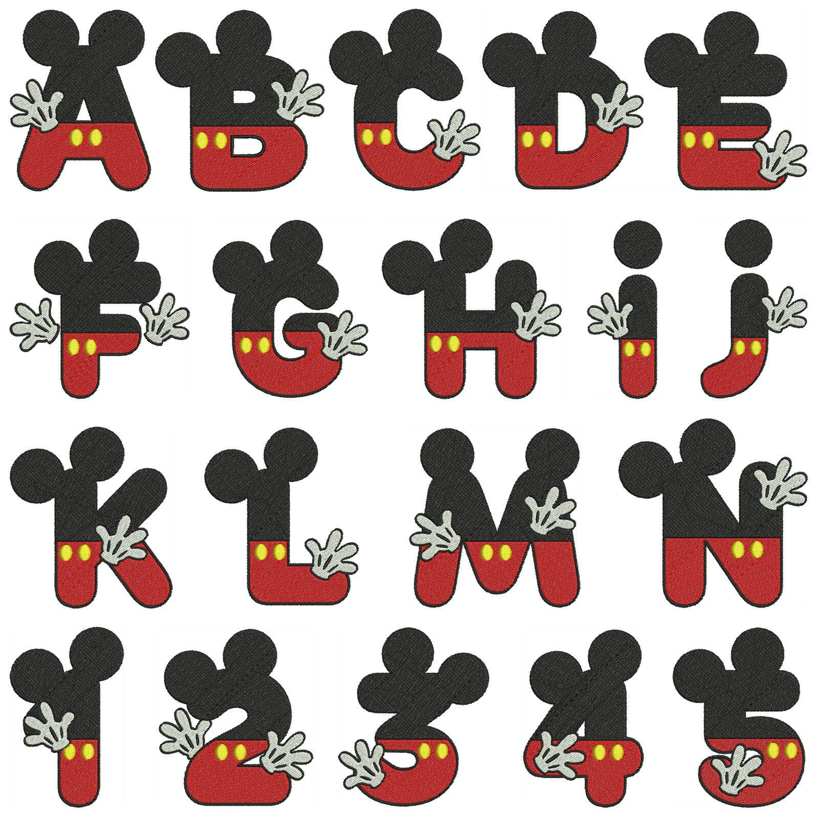 Mickey Alphabet Amp Numbers Machine Embroidery Patterns 36