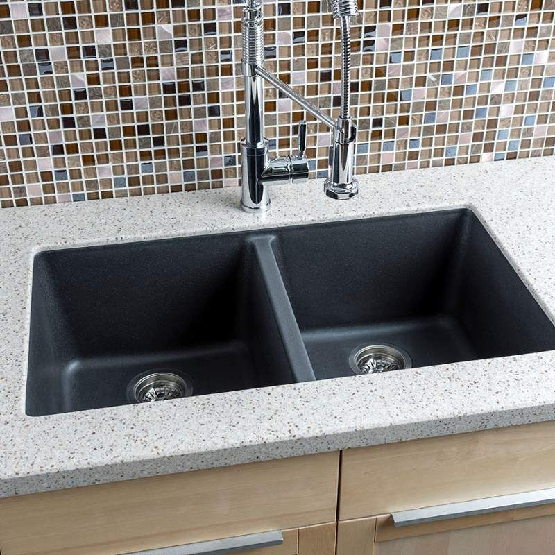 33 Undermount Double Bowl Granite Composite Kitchen Sink With 50