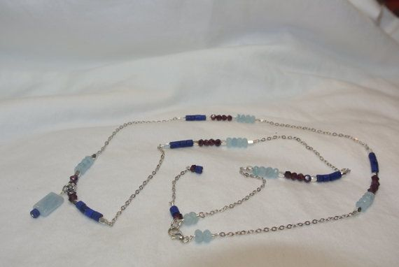 Aquamarine Lapis and Red Garnet Stones by LillyRoseofTexas on Etsy, $58.00