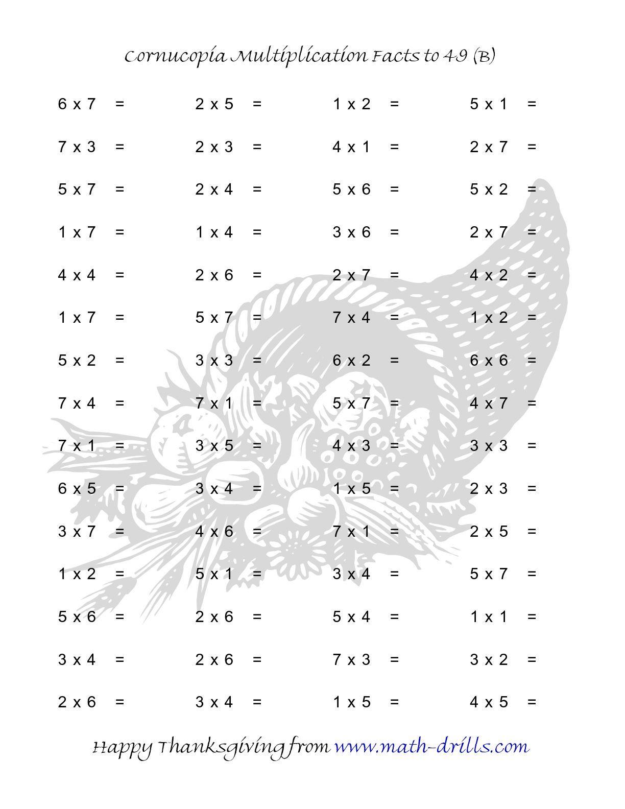 Cornucopia Multiplication Facts To 49 B Math Worksheet