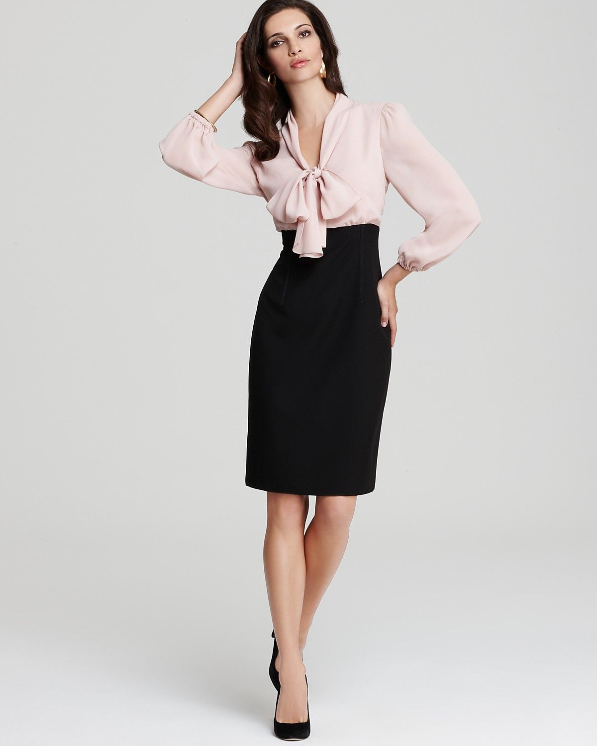 Anne Klein Dress Illusion Blouse Dress Women Dresses Bloomingdale S Office Outfits Professional Outfits Lawyer Fashion