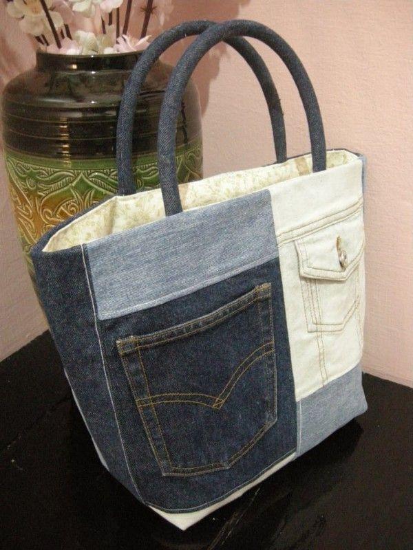 venta minorista 31c90 d757f bolso hecho a mano vaquero | Costuras | Denim reciclado ...