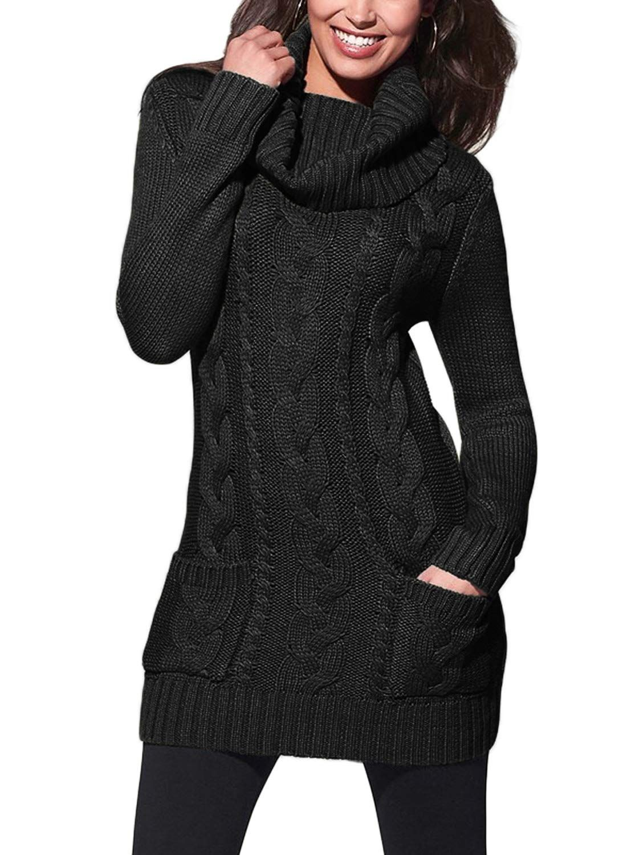 Blencot womens turtleneck long sleeve elasticity chunky